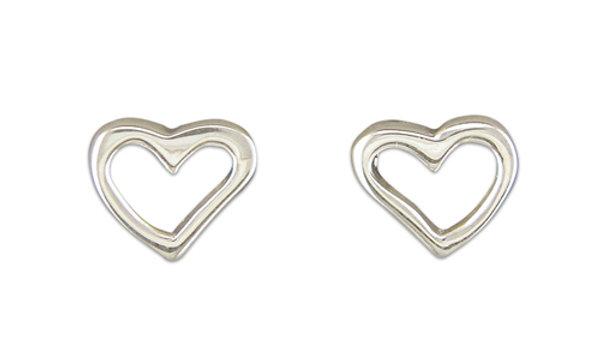 Silver Plain Heart Earrings
