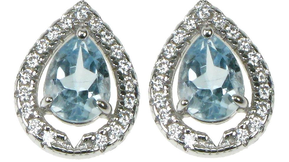 Silver Real  Blue Topaz Earrings