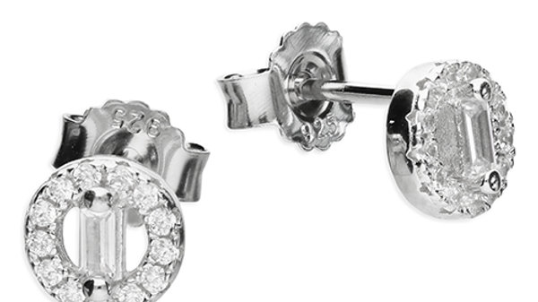 Silver cz Round Earrings