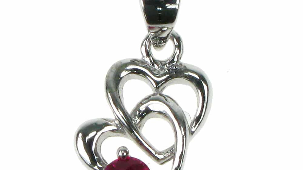 Silver Created Ruby Heart Pendant