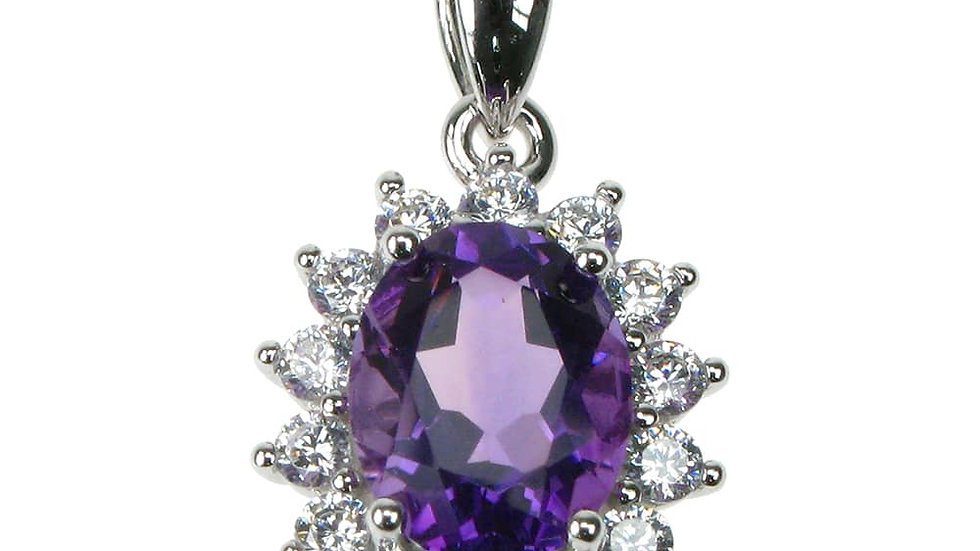 Silver Real Amethyst & cz Cluster Pendant