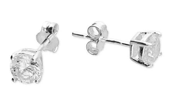 Silver cz 5mm earrings