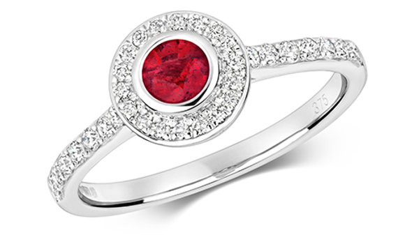 9ct Ruby/Diamond Ring