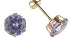 9ct Lavender cz 6mm Earring