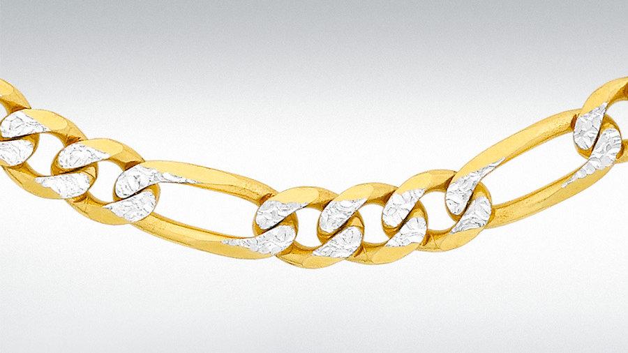 """9ct 2col Gold Figero 20"""" Chain"""