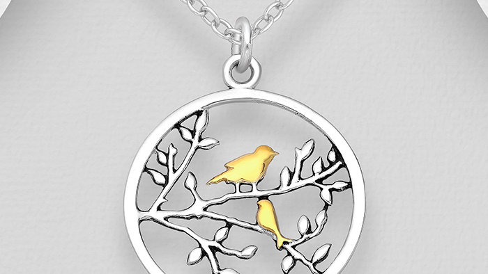 Silver Bird in Tree Pendant