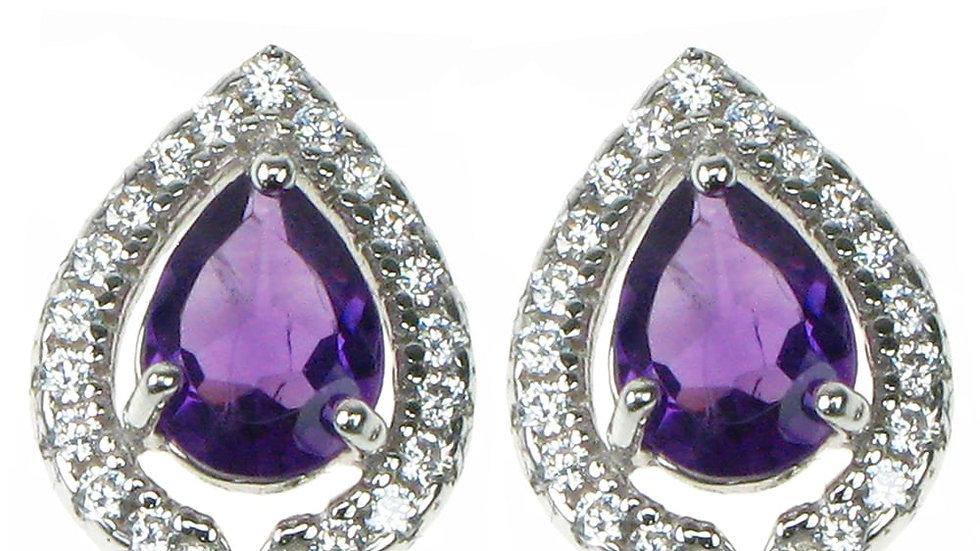Silver Real Amethyst &Cz Cluster Earrings