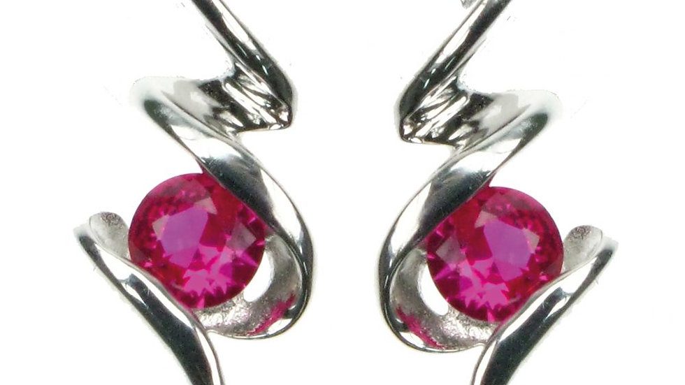 Silver Created Ruby Squiggle Earrings