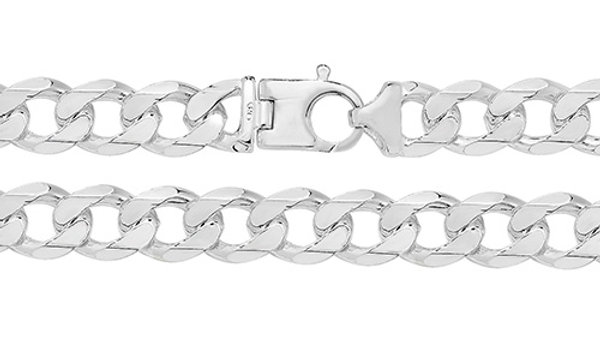 "Silver 8""Curb Bracelet Solid"