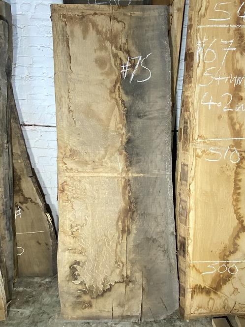 Waney edge oak slab.  No. #75 . Kiln dried Oak Slab for sale