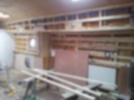 Humber keel barge conversion the carpenters are just about to start fitting the plywood,