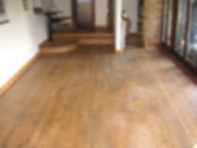 Oak floor ready for refinishing be our  local carpenters in Faversham Kent