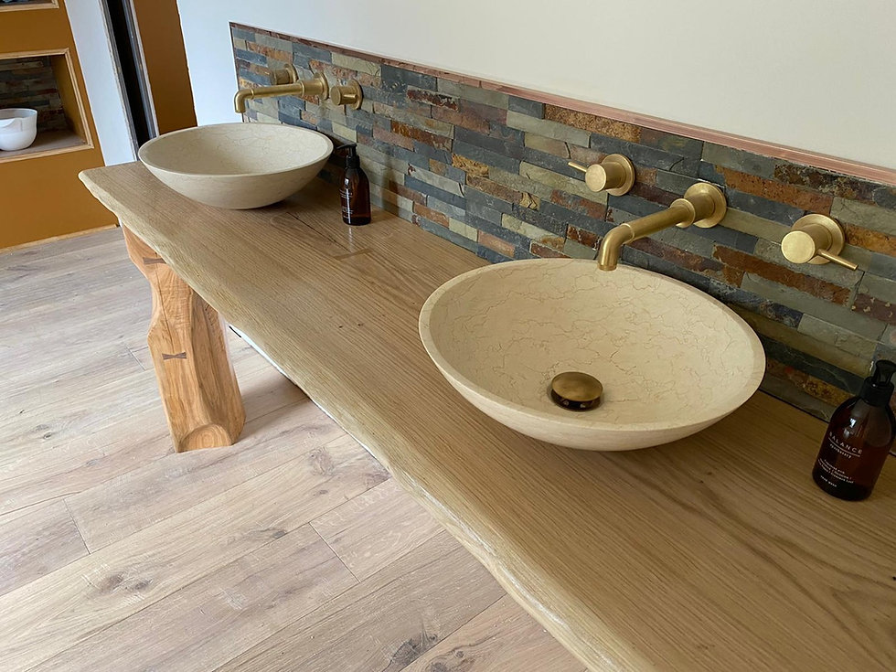waney edge oak slab, oak worktop. vanity