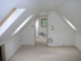 Carpenters in Kent plastering the loft conversion in Harrietsham Kent