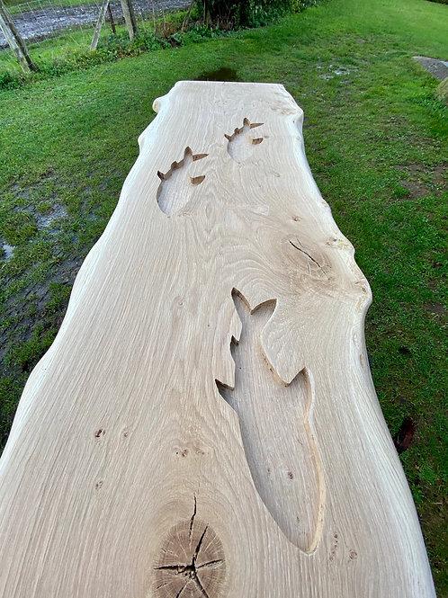 waney edge oak slab  bar top with fish, oak bar top