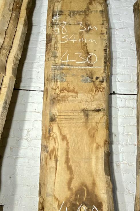 Waney edge oak slab.  No. #68 . Kiln dried Oak Slab for sale