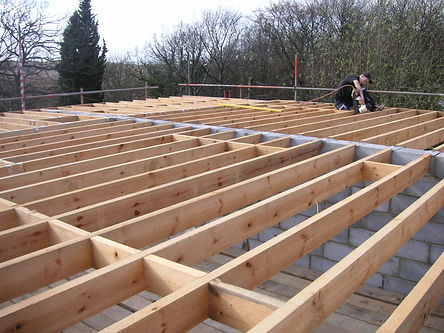 Our carpenters joisting out second floor joists in Chatham Kent 1st fix carpentry
