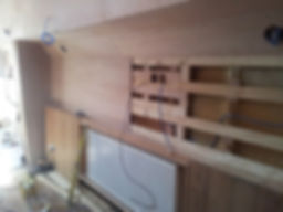 The carpenters are starting to ply line the inertia of this Humber keel liveaboard houseboat