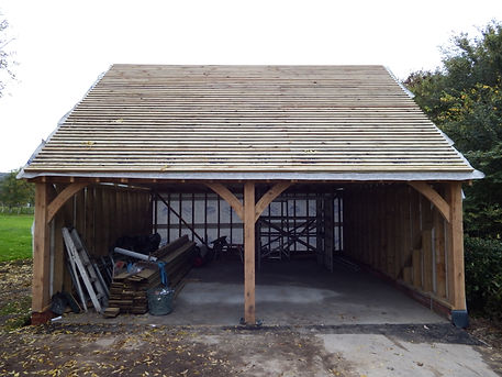 tiling the oak framed garage
