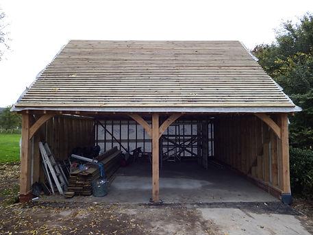 tiling the oak framed garage