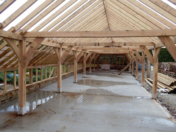 Oak frame garage in Rochester Kent. Timber frame building