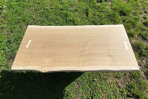 waney edge oak slab coffee table with a live edge and bowties