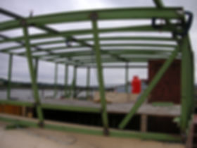 Constructing the new barge wheelhouse, welding in the frames on the Humber keel barge liveaboard houseboat