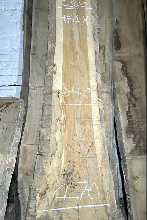 waney edge oak slab. No # 48. Kiln dried Oak slab for sale