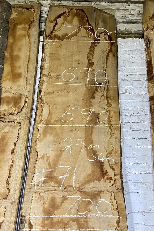 Waney edge oak slab.  No. #71 . Kiln dried Oak Slab for sale