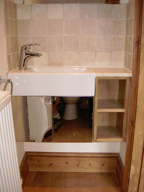 Loft conversion down stairs cloakroom toilet, by doodle and construct your local carpenters in Kent