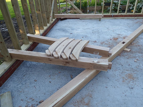 mortice and tenon  oak wind braces for the oak framed garage