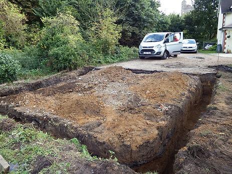 Digging foundations for the oak framed garage