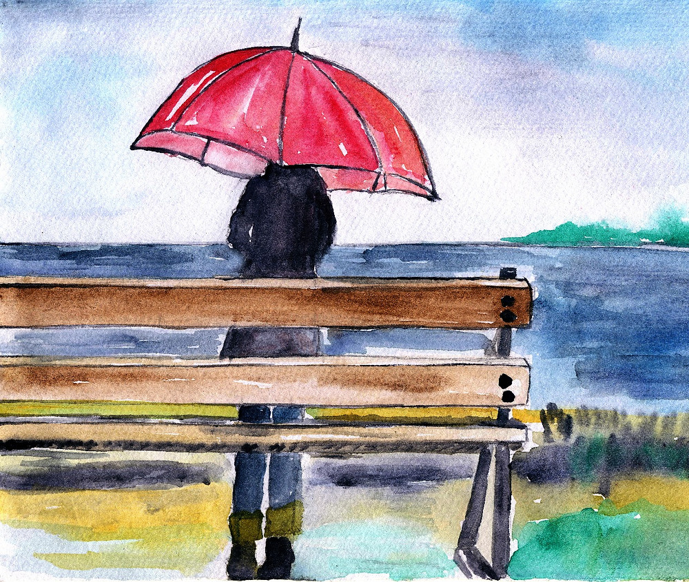 Watercolour image of a woman standing with a red umbrella looking out on a dark sea.