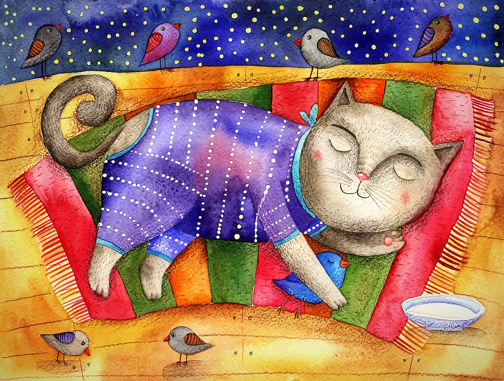 Watercolour cat sleeping on a colourful rug.