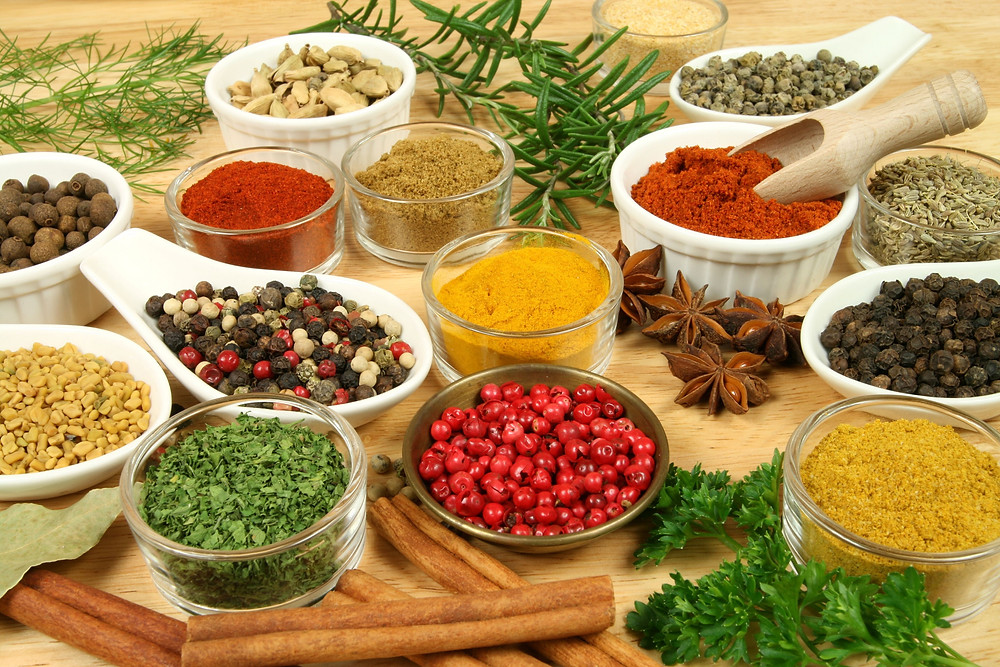 Assortment of fresh herbs and spices for agni