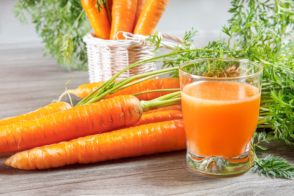 Carrots and carrot juice.