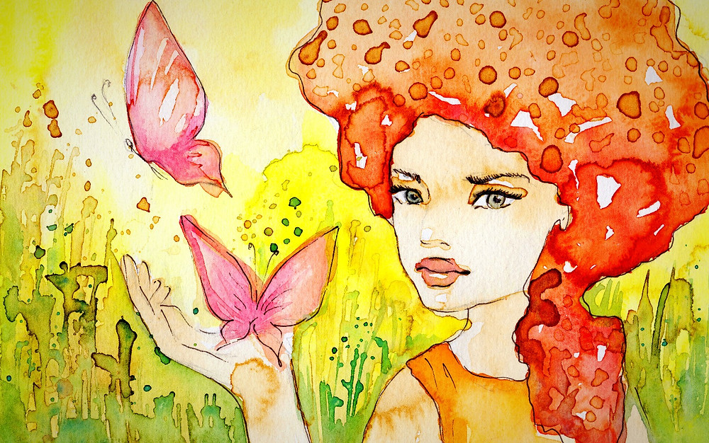 Abstract watercolour image of a woman and butterflies.
