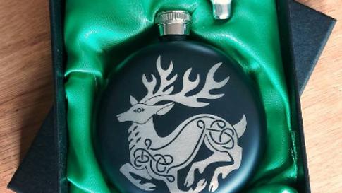 Beautiful Celtic Deer round flask.