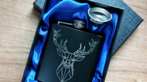 Beautiful Geometric Stag Hipflask. Hand crafted and laser precision engraved.