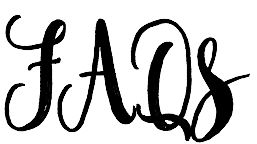 FAQS in black calligraphy