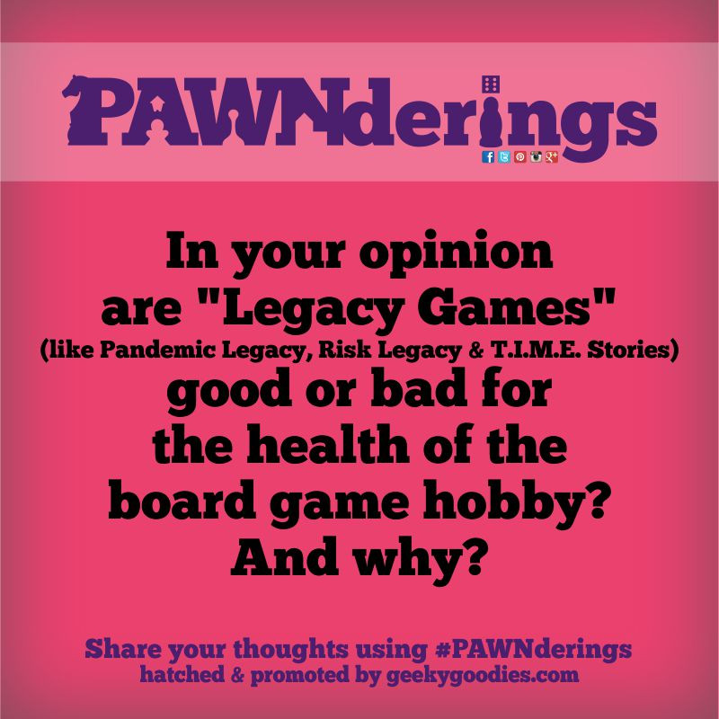 PAWNderings | by Geeky Goodies | Questions and conversations about board games. Share your thoughts using the hashtag #PAWNderings