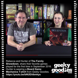 Hunter of The Family Showdown wearing a Board Game Mechanics T-shirt from Geeky Goodies | T-shirts for board gamers and tabletop fans