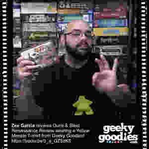 Zee Garcia reviews Guns & Steel Renaissance wearing a yellow meeple T-shirt from Geeky Goodies!  | Geeky Goodies | Yellow Meeple T-shirt