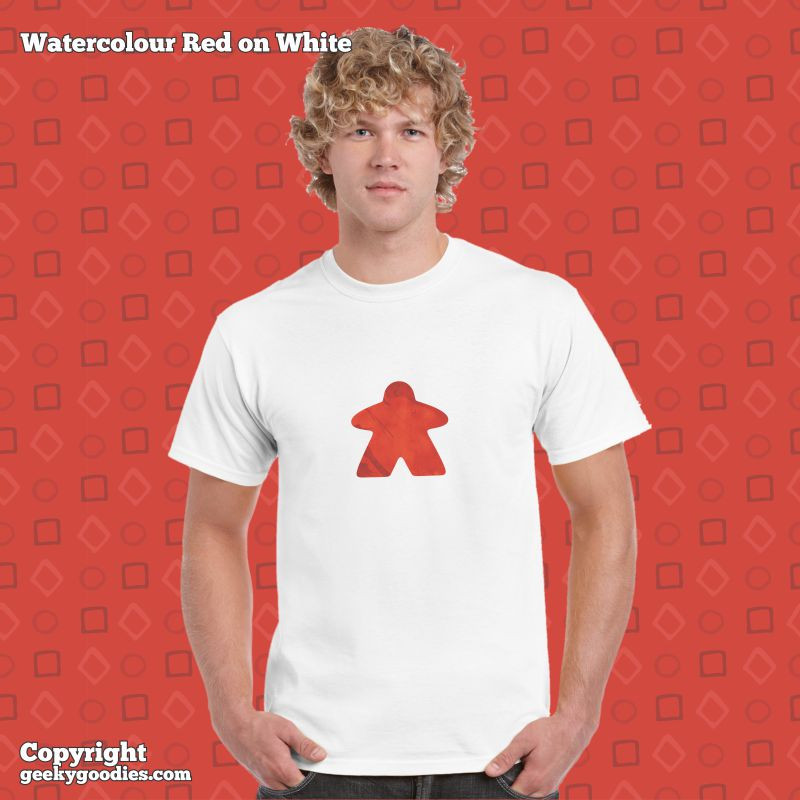 Watercolour Meeple T-shirts | Geeky Goodies | T-shirts for board game geeks and analog gamers
