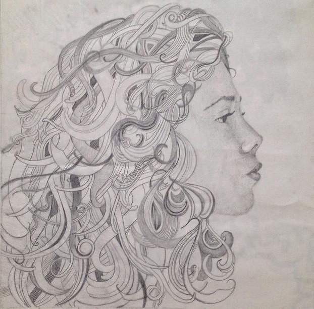 self portrait. graphite on paper.