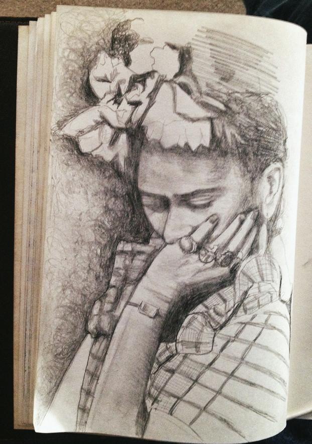 frida. graphite sketch on paper. 8 1/2 x 11.