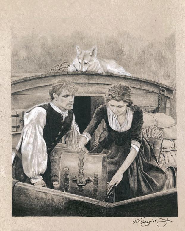 outlander illustration claire jamie fras
