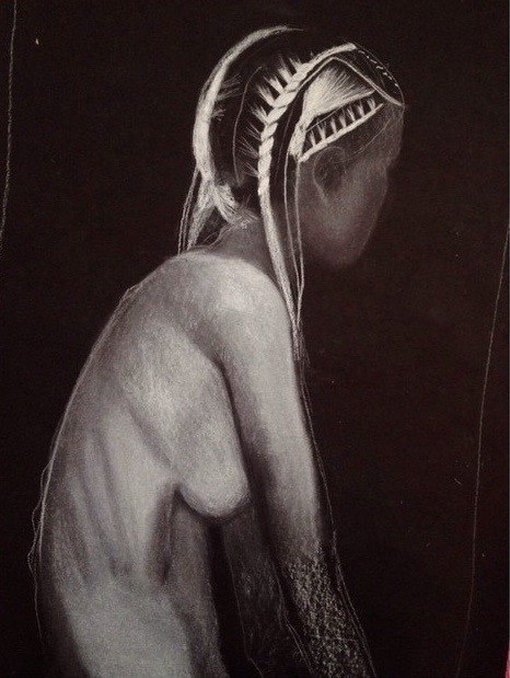 untitled. conte crayon on black paper. 18x24.