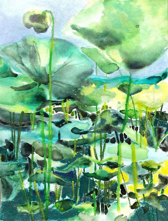 among the lotus flowers - quick study. watercolor & pastel on watercolor paper.  9x12.