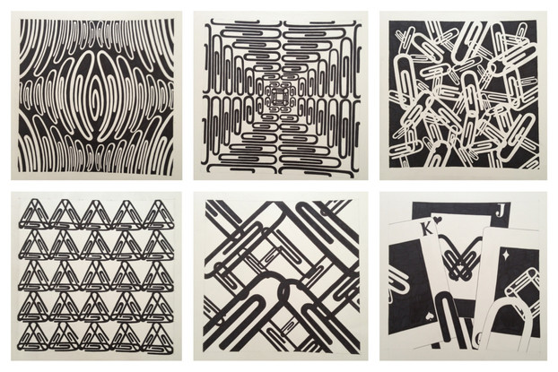 paperclip series. sharpie on bristol board. 6 - 14x14.